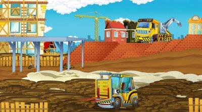 Nálepka cartoon scene with industry cars on construction site - illustration for children