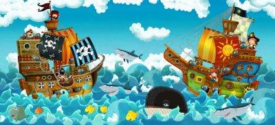 Nálepka cartoon scene with pirates on the sea battle - illustration for the children