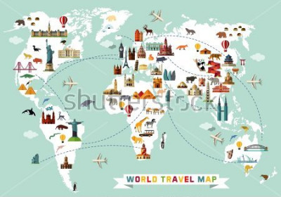 Nálepka Cartoon world map with animal and sightseeing attractions. Vector Illustration.