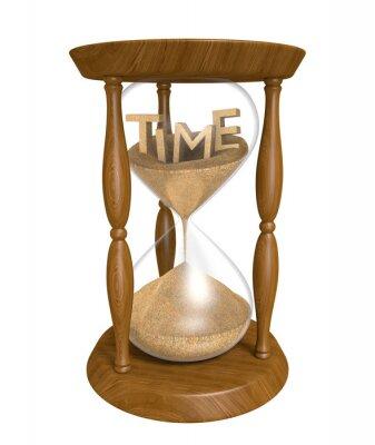 Čas běží ve starém přesýpací hodiny, na bílém pozadí