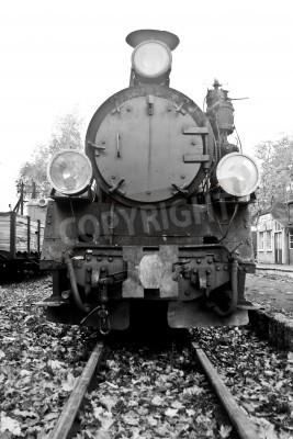 Nálepka část staré parní vlak v černé a bílé