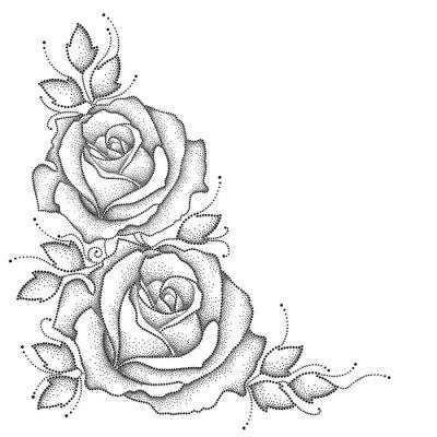 Nálepka Čep s tečkované růže květ a listy izolovaných na bílém pozadí. Květinové prvky v dotwork stylu.