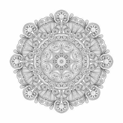 Nálepka Černá a bílá abstraktní kruhový vzor mandala etnických.