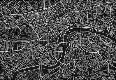 Nálepka Černá a bílá vektorová mapa Londýna s dobře organizované oddělené vrstvy.
