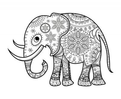 Nálepka Černá a bílá zdobená slon na bílém, elefante decorato vettoriale da colorare, su sfondo bianco