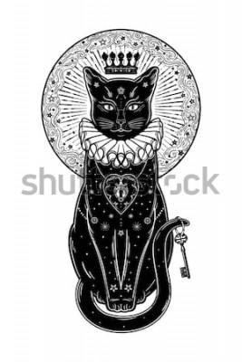 Nálepka Černá kočka silueta portrét s tajným klíčem na pozadí měsíce. Ideální Halloween pozadí, tetování, boho design. Ideální pro tisk, plakáty, trička, textil. Vektorové ilustrace.