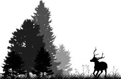 Nálepka černé jelen běží do lesa jedle na bílém