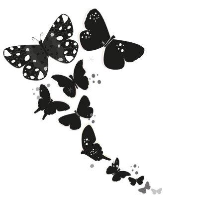 Nálepka Černý design motýl a abstraktní okrasné květiny vektor pozadí