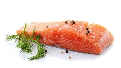 Nálepka čerstvého syrového lososa