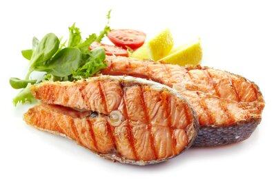 Nálepka čerstvý grilovaný losos steak plátky