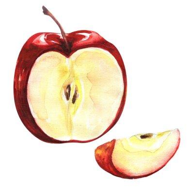 Nálepka Červené jablko izolovaných na bílém pozadí výřez