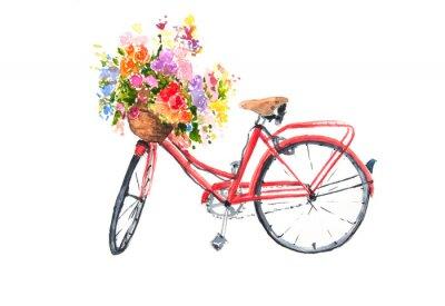 Nálepka Červené retro kolo s barevnými květy v košíku, akvarel ilustrátor, bike umění, lze použít pro domácí zdobí