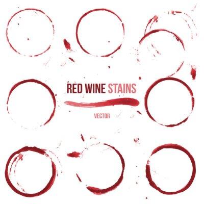 Nálepka Červené víno skvrny na bílém pozadí
