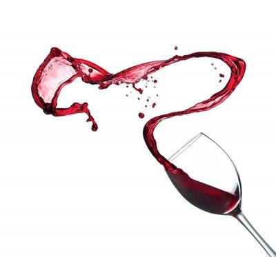 Nálepka Červené víno stříkající ze skla, izolovaných na bílém pozadí