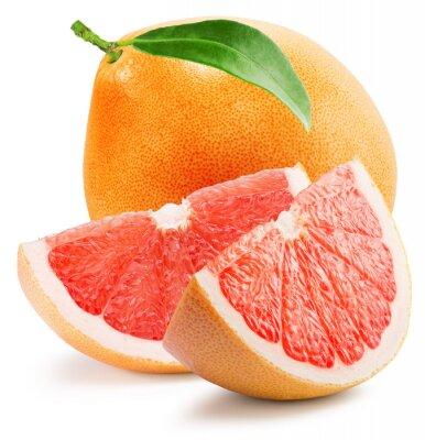 Nálepka červený grapefruit s plátkem na bílém pozadí