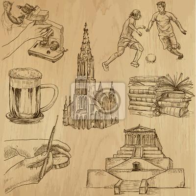 Cestovani Nemecko Rucni Kresby Do Vektoru Set 1 Nalepky Na