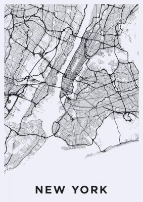 Nálepka Cestovní mapa New York (Spojené státy americké). Transportní síť Big Apple.