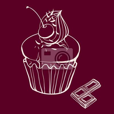 cherry muffin se šlehačkou