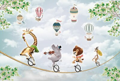 Nálepka children's picture, animals on a wheel ride on a tightrope against the sky with balloons