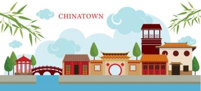 Nálepka Chinatown Building a Park, Travel, město, tradiční kultura