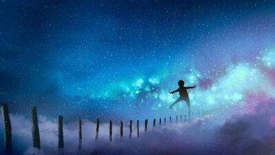 Nálepka chlapce vyvážení na dřevěných tyčích proti Mléčné dráze s mnoha hvězdami, digitální umělecký styl, ilustrace malířství