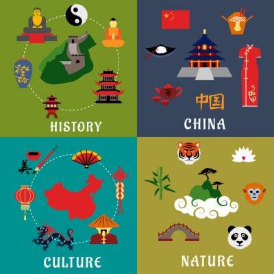 Nálepka Čína Historie, kultura a příroda ikony