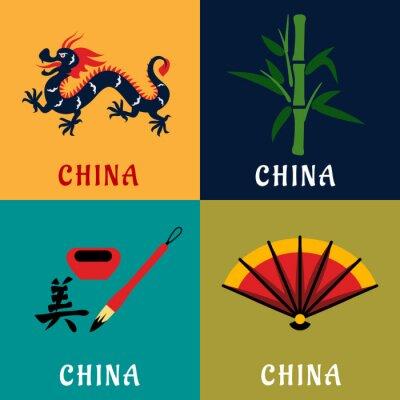 Nálepka Čína kultura a tradice ploché ikony