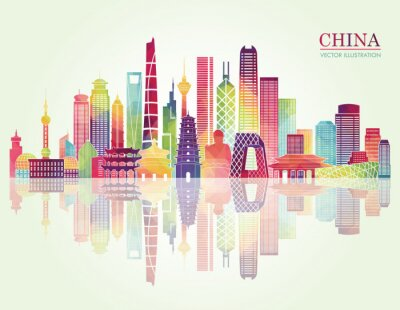 Nálepka Čína panorama detailní siluetu. vektorové ilustrace