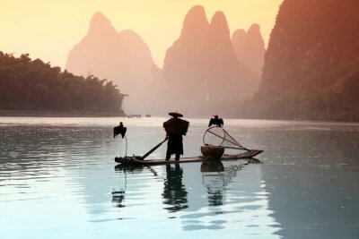 Nálepka Číňan rybolov s kormorány ptáky