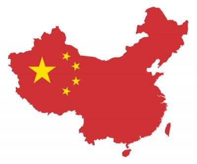 Nálepka Čínská lidová republika Flag na Mapa vektorové ilustrace