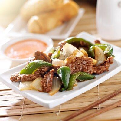 Nálepka Čínské jídlo - pepř hovězí maso v restauraci