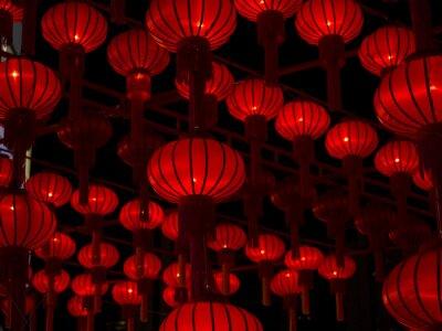 Nálepka Čínské lucerny, čínský Nový rok.