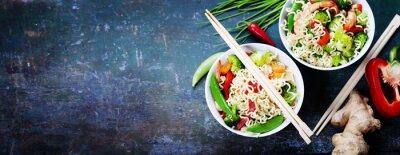 Nálepka Čínské nudle se zeleninou a krevetami