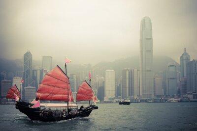 Nálepka Čínský styl plachetnice v Hong Kongu