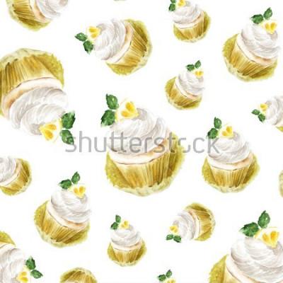 Nálepka Citronový koláč se smetanou máty, akvarel ilustrace muffin dezert. umělecký tisk, módní náčrtek. pečivo sladký dort ovoce citrus.pattern