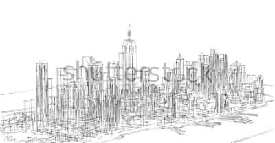 Nálepka city, panorama, 3d illustration