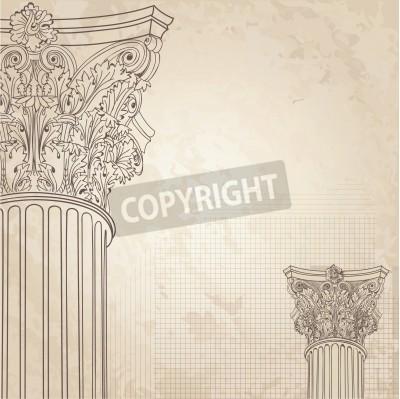Nálepka Classic columns seamless background. Roman corinthian column. Illustration onold paper background for design sketch