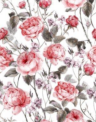 Nálepka Classical vintage floral seamless pattern, watercolor bouquet of