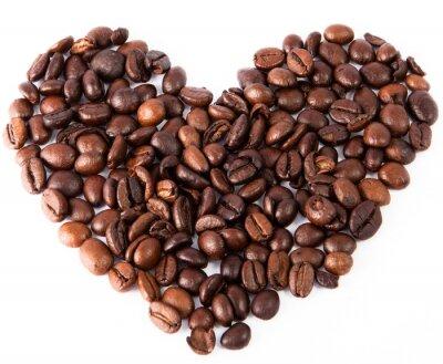 Nálepka close-up srdce z přírodního hnědého smažené kávy bylo