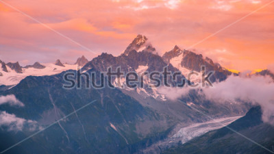 Nálepka Cloudy Sunset over Iconic Mont-Blanc Mountains Range and Glaciers