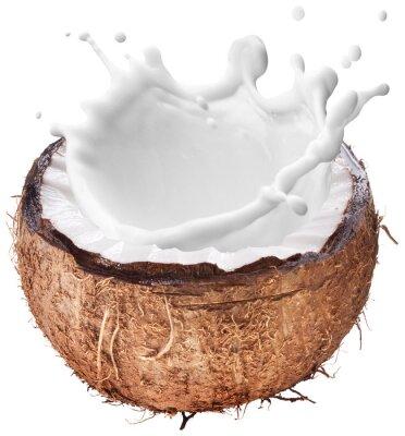 Nálepka Coconut s mlékem stříkající uvnitř.