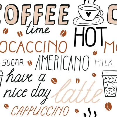 Nálepka Coffee seamless pattern with lettering. Vector Sketch Illustration with hand written calligraphy. Text about different types of coffee. Americano, latte, cappuccino. Breakfast drinks theme