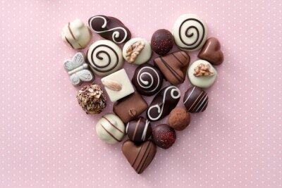 Nálepka Čokoládové bonbóny srdce