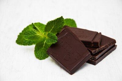 Nálepka Čokoládové kousky s listem máty