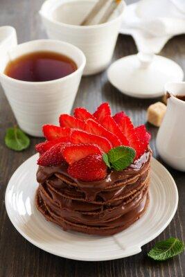 Nálepka Čokoládové palačinky s čokoládovým krémem a jahodami.