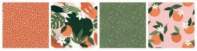 Nálepka Collage contemporary orange floral and polka dot shapes seamless pattern set.