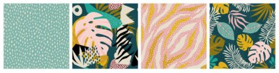 Nálepka Collage tropical and polka dot seamless pattern set. Modern exotic design for paper, fabric, interior decor