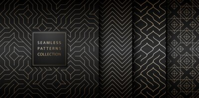 Nálepka Collection of seamless geometric golden minimalistic patterns. Simple vector graphic black print background. Repeating line abstract texture set. Stylish trellis gold square. Geometry web page fill.