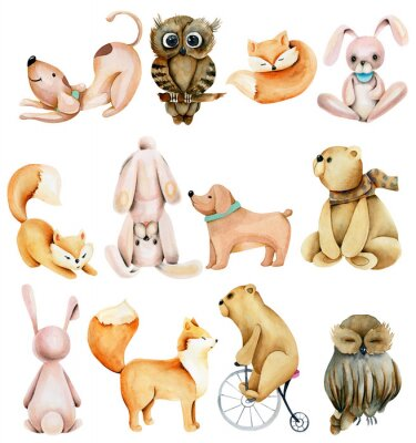Nálepka Collection of watercolor cute animals (rabbits, foxes, owls, bears and dogs), hand drawn isolated on a white background