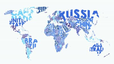 Nálepka Color political map of the world consisting of country names, text composition detailed vector illustration